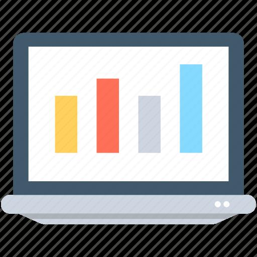 bar chart, bar graph, laptop, online graph, seo graph icon