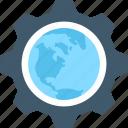 cog, cogwheel, global setting, globe, internet setting