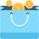 coins bag, currency, currency bag, money bag, shopper bag icon