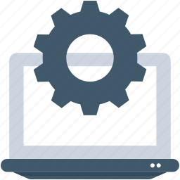 cog, gear, laptop, laptop configuration, laptop settings icon