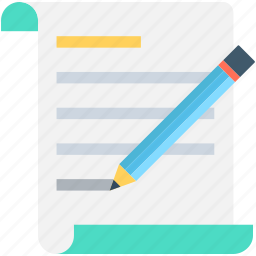 notepad, pencil, script writing, writing, writing article icon