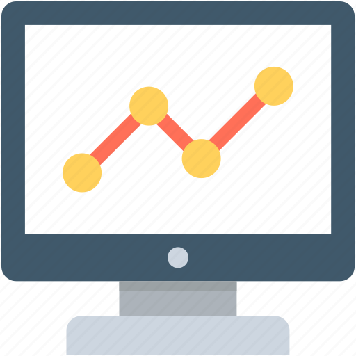 line chart, line graph, monitor, online graph, seo graph icon