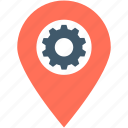 cog, gps, location pin, location settings, settings