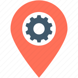 cog, gps, location pin, location settings, settings icon