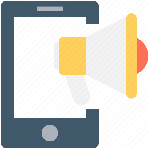 bullhorn, mobile, mobile advert, mobile marketing, promotion icon