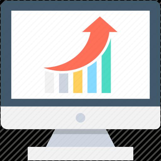 bar graph, growth graph, monitor, online graph, seo graph icon