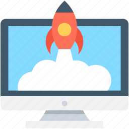 build site, create website, monitor, rocket, web startup icon