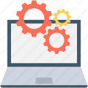 cog, gear, laptop, laptop configuration, laptop settings icon