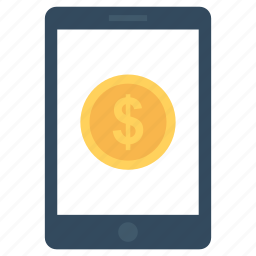 banking, coins, dollar, mobile banking, usd icon