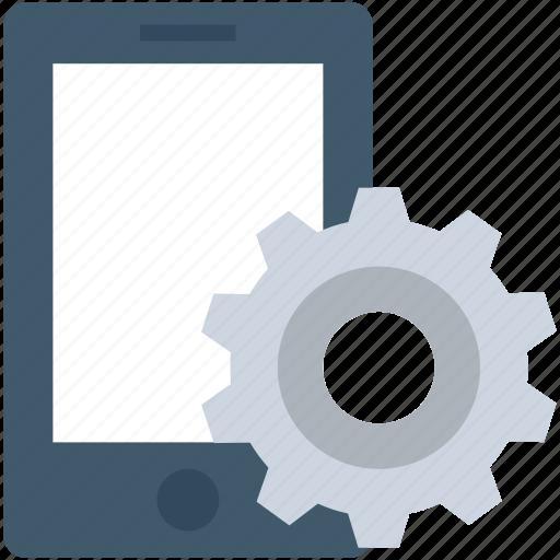 app development, cogwheel, gear, mobile development, mobile ui icon