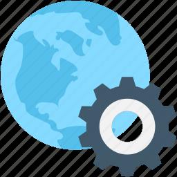 browser, cog, globe, internet, setting icon