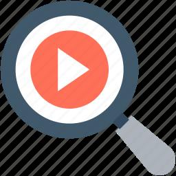 magnifier, multimedia, search video, seo, video marketing icon