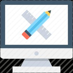 artwork, designing, monitor, pencil, ruler icon