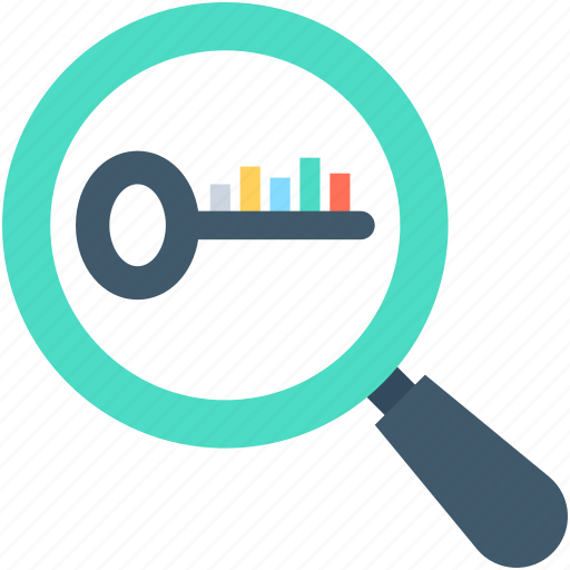Find keywords, keywords, magnifier, search keywords, seo icon