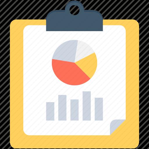 bar graph, clipboard, graph paper, graph report, pie chart icon