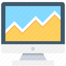 line graph, monitor, online analytics, online graph, seo graph icon