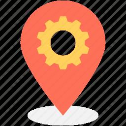 cog, gps, location pin, location settings, settings icon