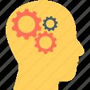 brainstorm, cogwheel, human head, human mind, thinking
