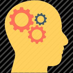 brainstorm, cogwheel, human head, human mind, thinking icon