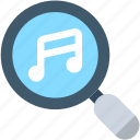 magnifier, marketing, music file, music search, seo icon