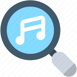 magnifier, marketing, music file, music search, seo icon