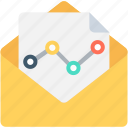 envelop, graph report, line graph, seo graph, seo report icon