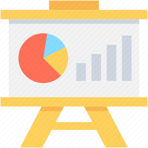 analysis, graph presentation, pie graph, presentation, whiteboard icon