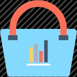 bar graph, graph, seo graph, shopping bag, statistics icon