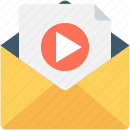 envelop, multimedia, play, sound, video file icon