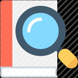 e book, find book, library, magnifier, search book icon