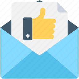 email, envelope, file, letter, thumbs up icon