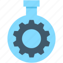 cog, cogwheel, flask, gearwheel, lab icon