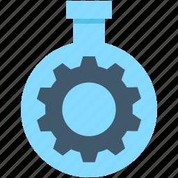 cog, cogwheel, flask, gearwheel, lab icon
