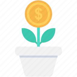 business expand, business growth, dollar, investment, money plant icon