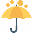 coins, financial, insurance, umbrella, wealth icon
