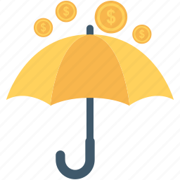 coins, financial, insurance, umbrella, wealth icon