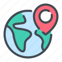 earth, globe, location, pin, place, pointer, world icon