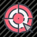 aim, arrow, click, cursor, hit, target icon