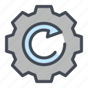arrow, cog, cogwheel, gear, refresh, update, wheel icon