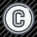 c, circle, copy, copywrite, write icon
