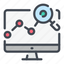 analytics, computer, monitor, report, search, statistics, stats icon