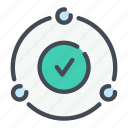 approve, check, circle, connections, done, link, tick icon