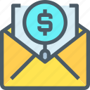 business, email, letter, mail, marketing, search icon