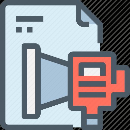 business, document, file, promote, seo, speaker icon