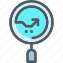 arrow, business, data, graph, report, research, search icon