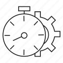 clock, gear, time icon