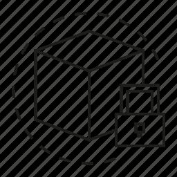box, cube, key, security icon