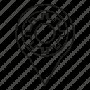 cog, gear, location, pin icon