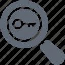 internet search, magnifier, search, search keywords, searching web key icon