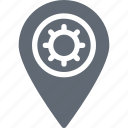cog, location pointer, location setting, map marker, map setting